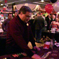 Professional casino dealer at our casino party